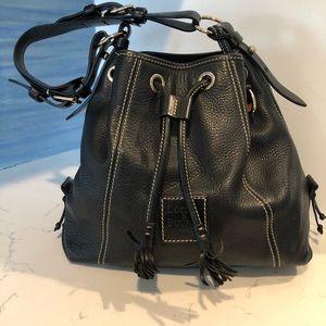 Dooney & Bourke Black Leather Drawstring Bag
